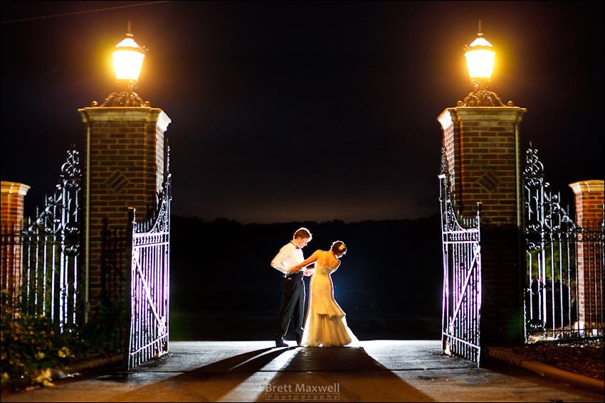 bride and groom, night portrait, english inn wedding