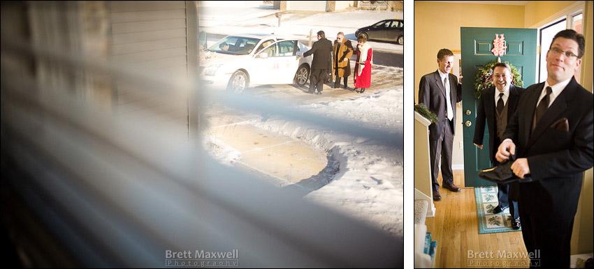 groom arrives to pick up bride
