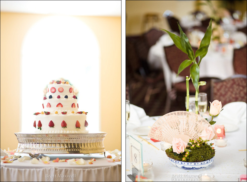 wedding cake and centerpiece