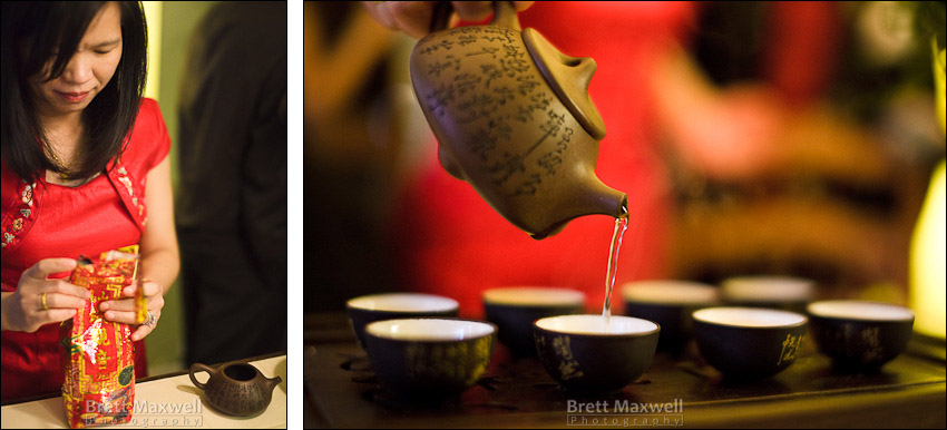 bride pouring Chinese tea