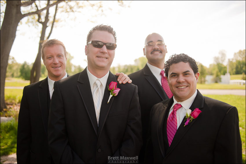 groom and groomsman at hawk hollow chapel