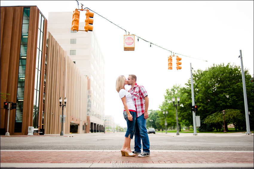downtown lansing engagement photo