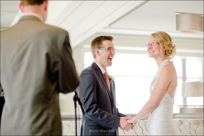 bride and groom photographed laughing